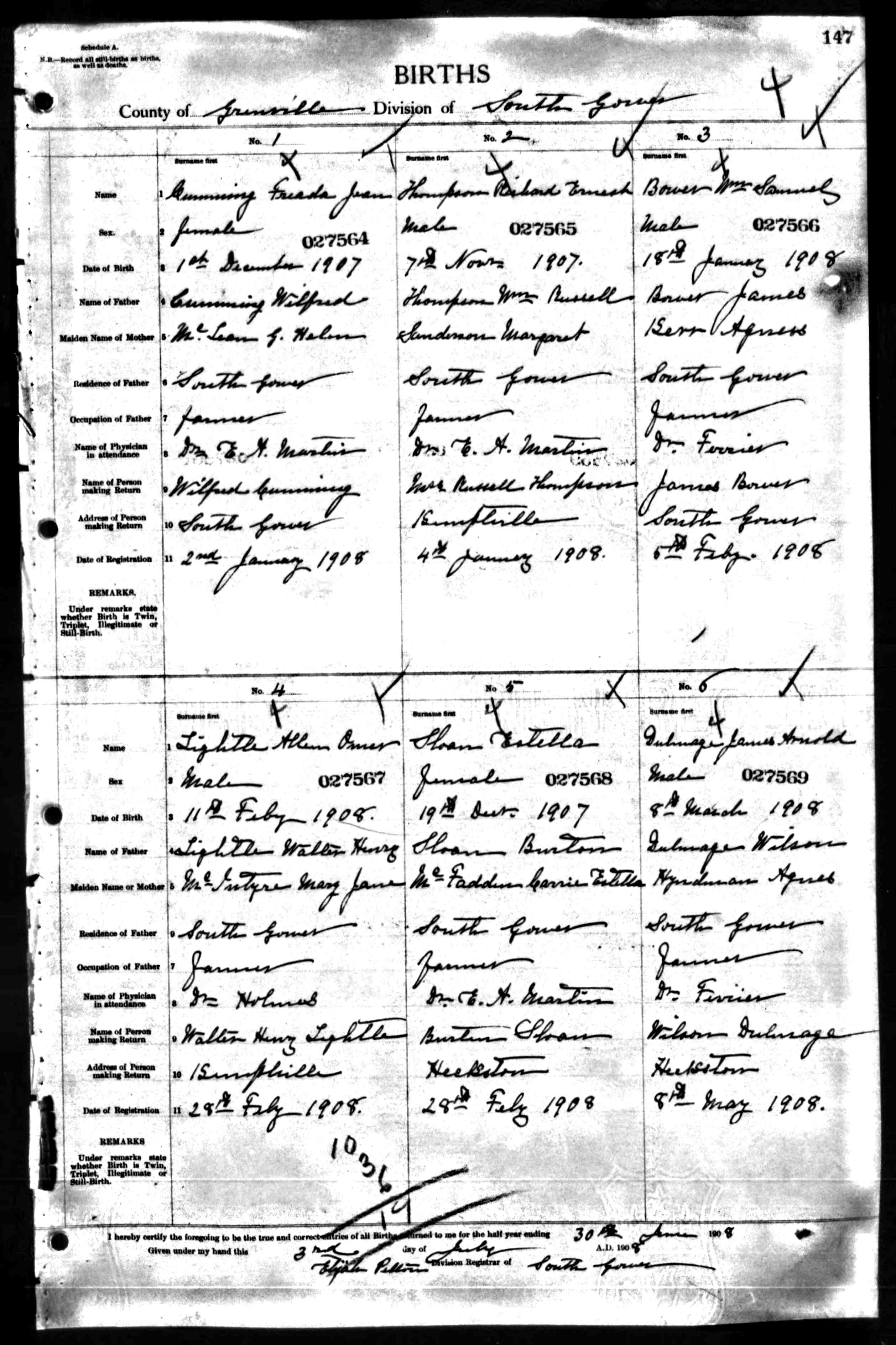 Source documents for the william bower family book birth register aiddatafo Image collections